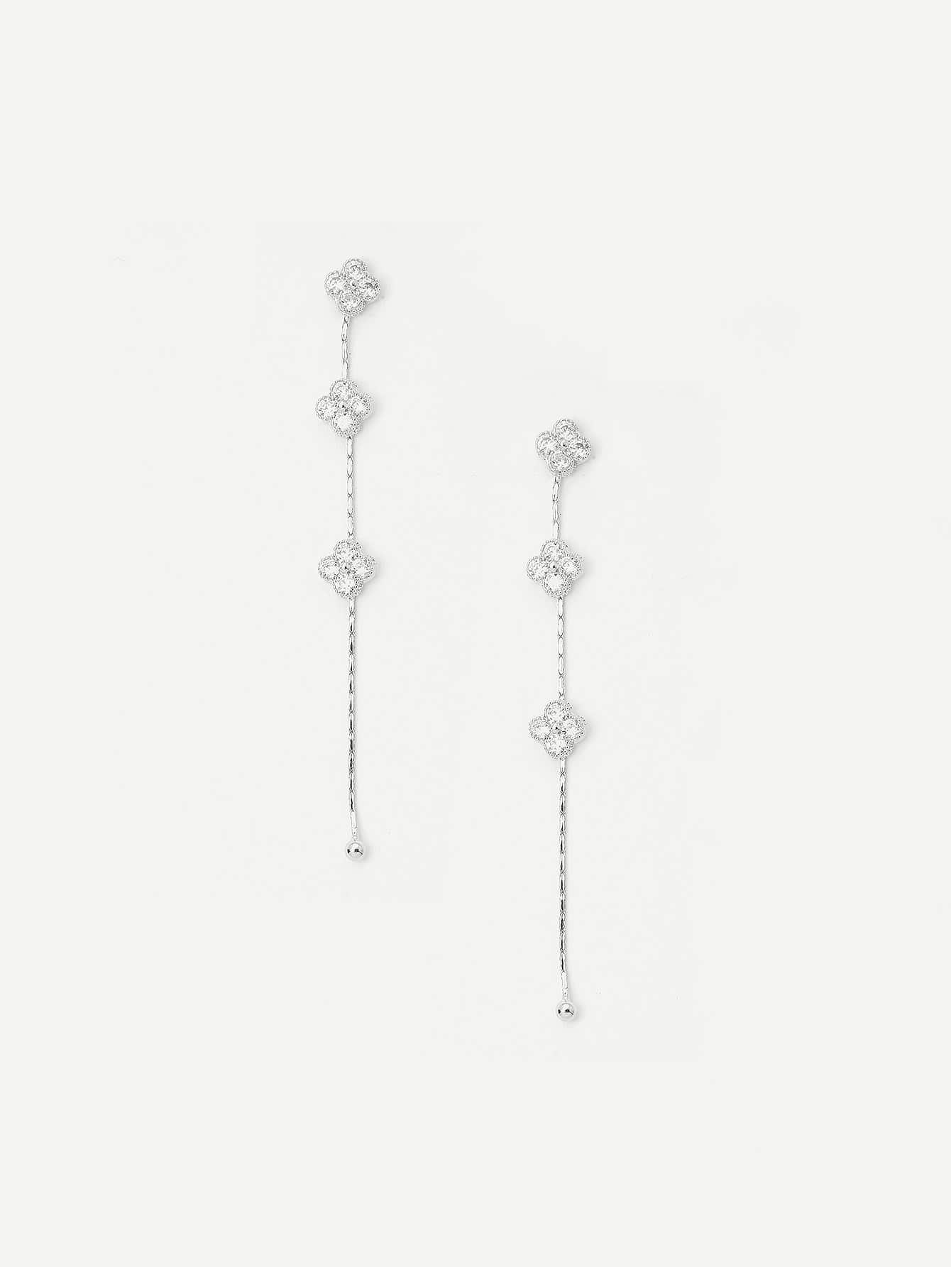 Rhinestone Flower Long Chain Drop Earrings rhinestone ball hook long chain earrings
