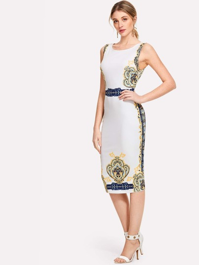 Ornate Print Form Fitting Dress