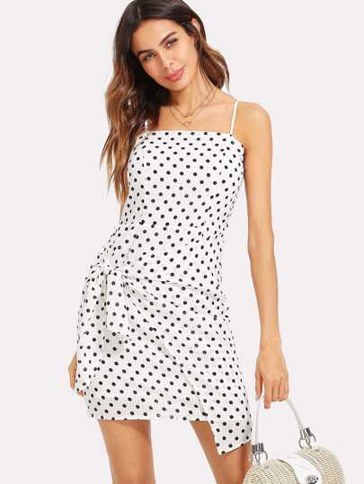 Polka Dot Bow Tie Back Wrap Cami Dress