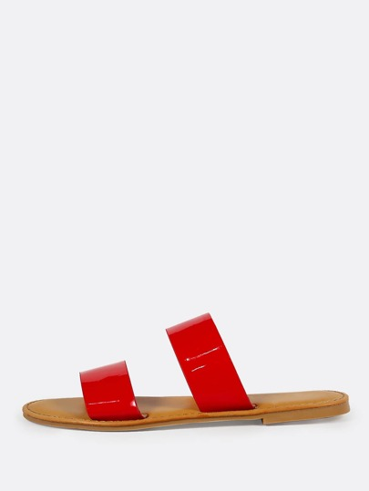 Patent Double Band Slide Sandal RED