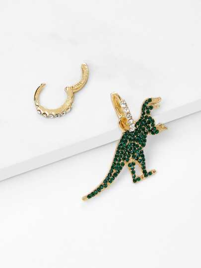 Rhinestone Hoop Earrings With Dinosaur