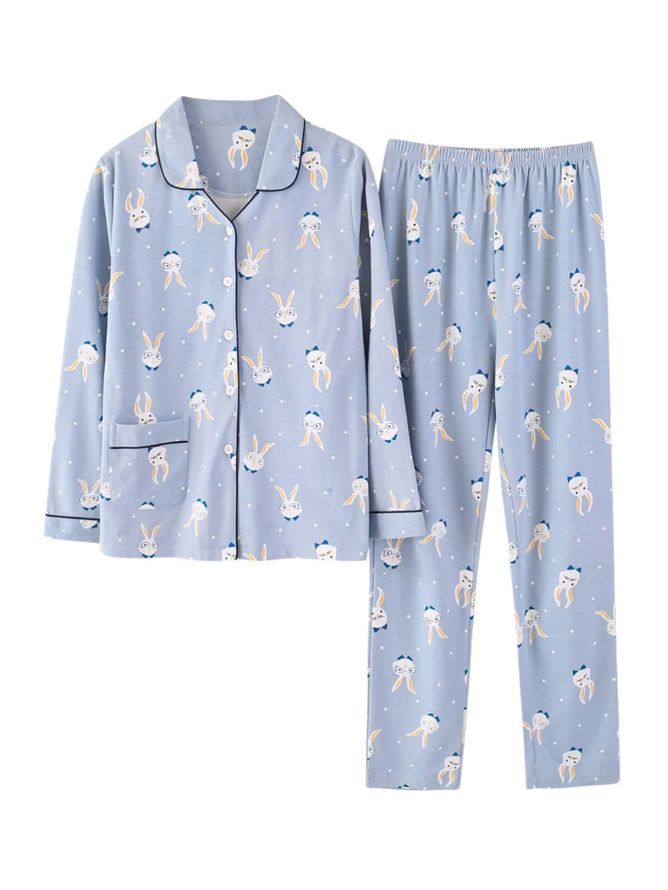 Contrast Binding Rabbit Print Shirt & Pants PJ Set