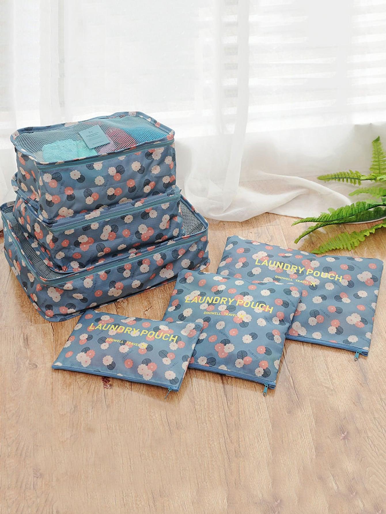 6 Pcs Travel Bags Set Floral Storage Bag