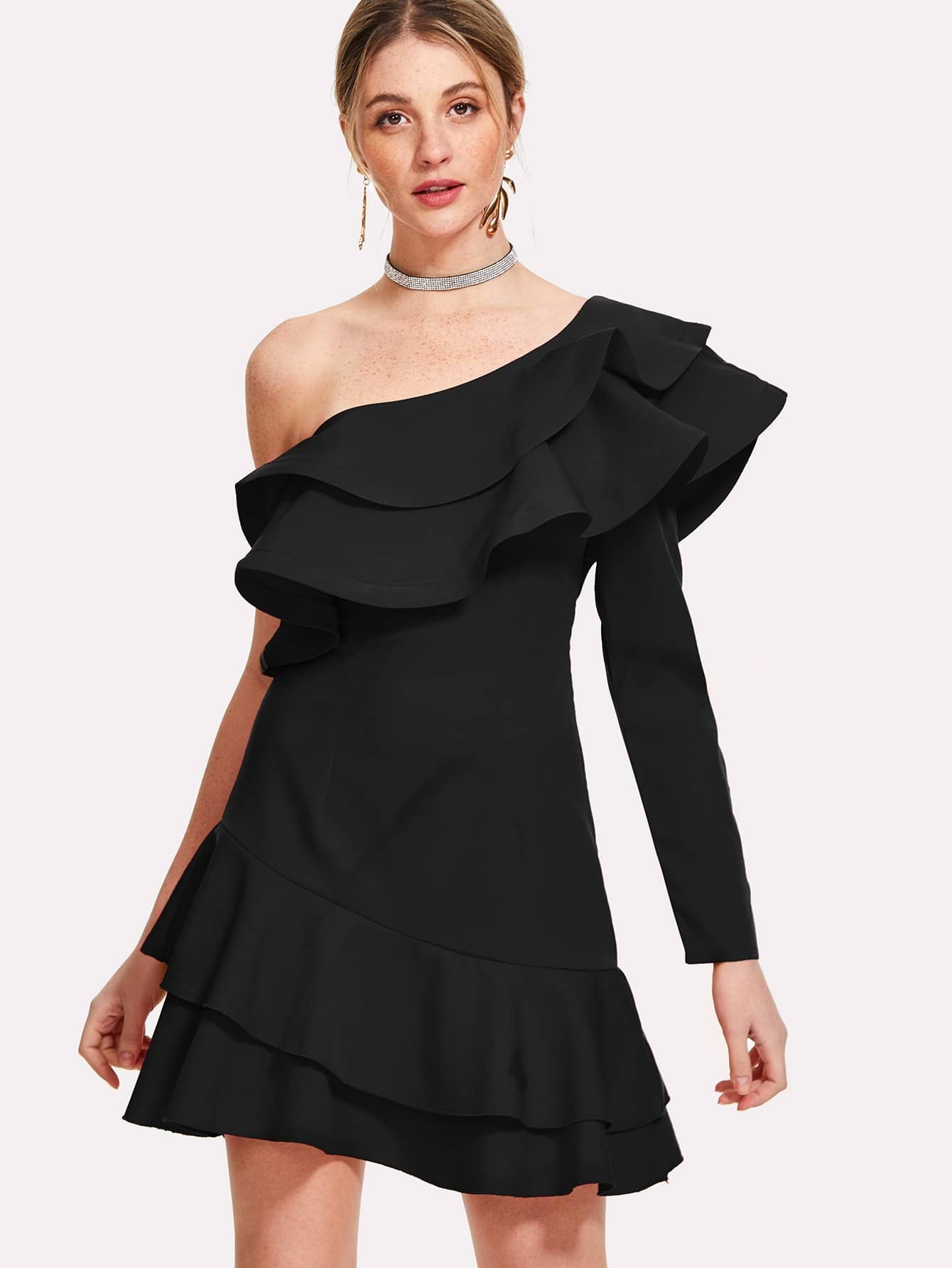 Layered Ruffle Trim One Shoulder Dress 30393 automotive computer board