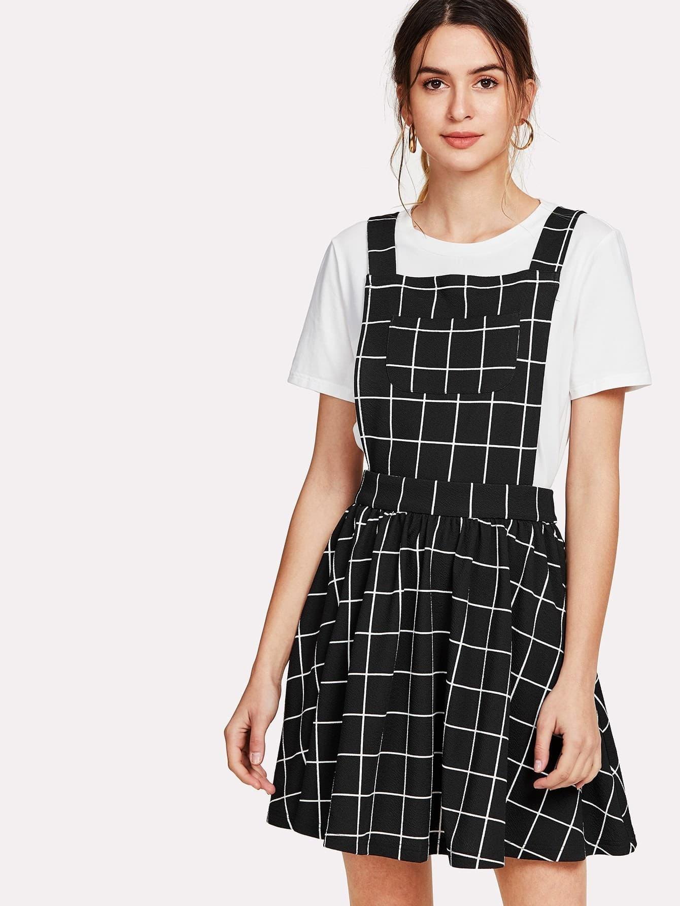 все цены на Bow Tie Back Grid Pinafore Dress