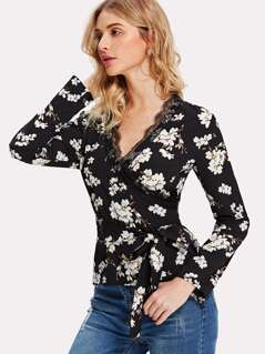 Lace Neckline Floral Wrap Top
