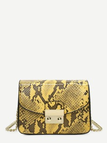 Snakeskin Print PU Chain Crossbody Bag