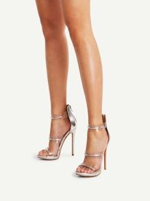 Metallic Detail Clear Strappy Stiletto Sandals