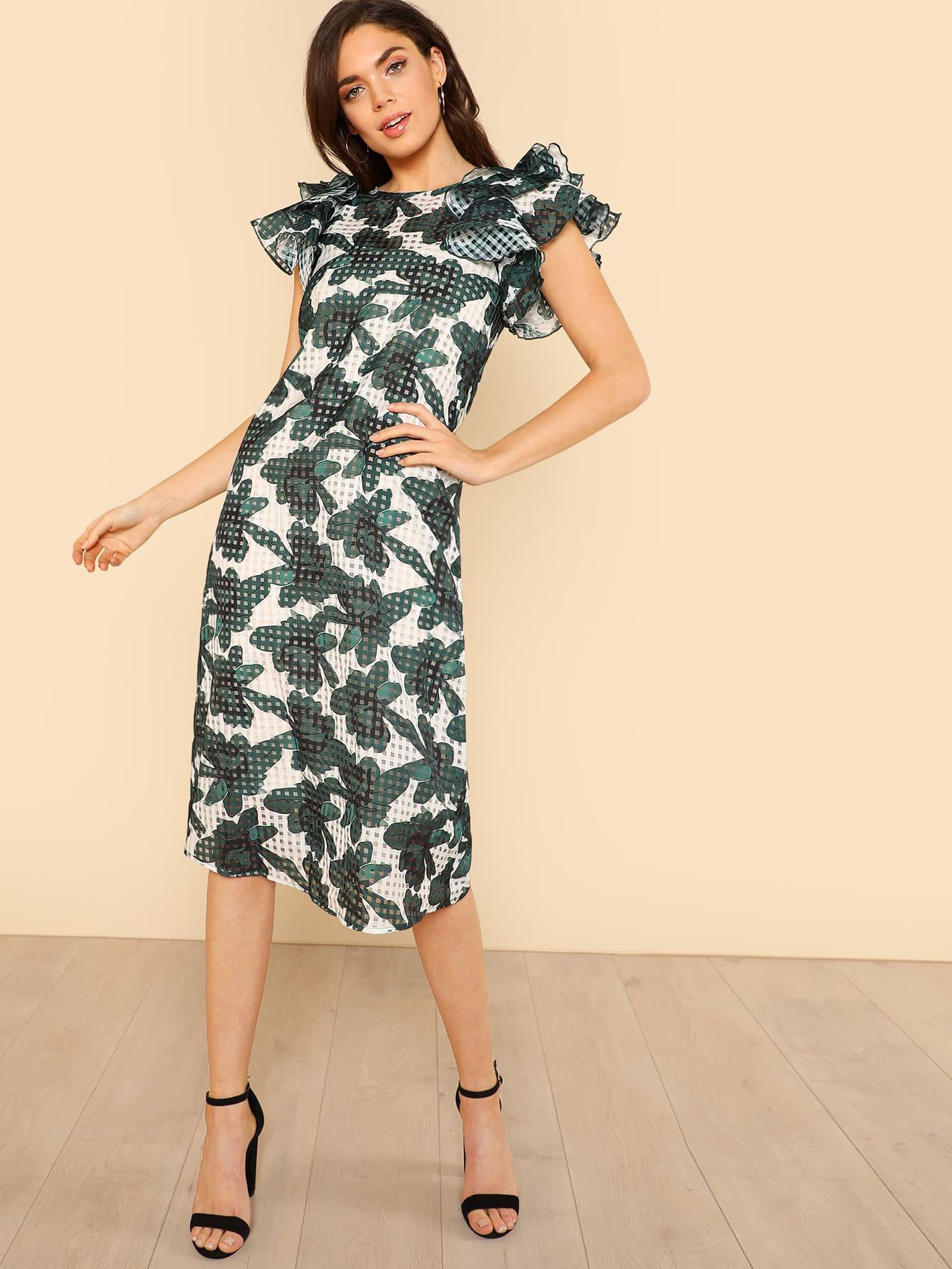 Layered Ruffle Trim Floral Dress layered ruffle trim satin wrap dress