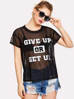 Letter Print Sheer Mesh Top Without Bralette