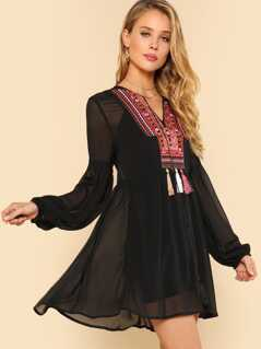 Bishop Sleeve Embroidery Smock Top Without Cami
