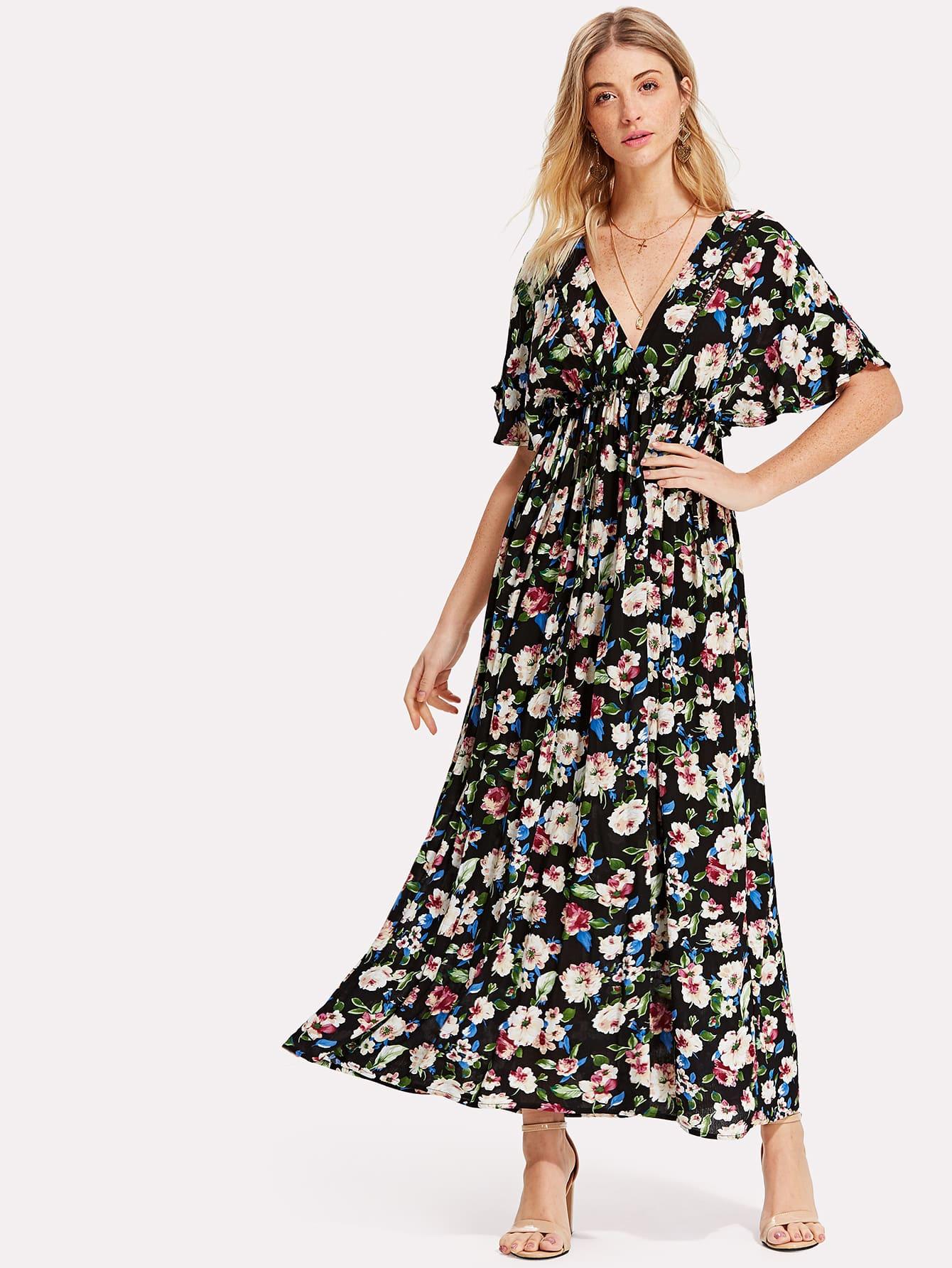 Flower Print Lace Insert Kimono Dress mixed print lace insert longline kimono