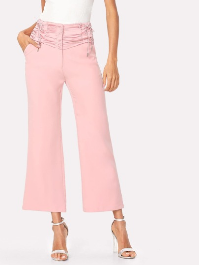 Lace Up Ruched Wide Waistband Pants