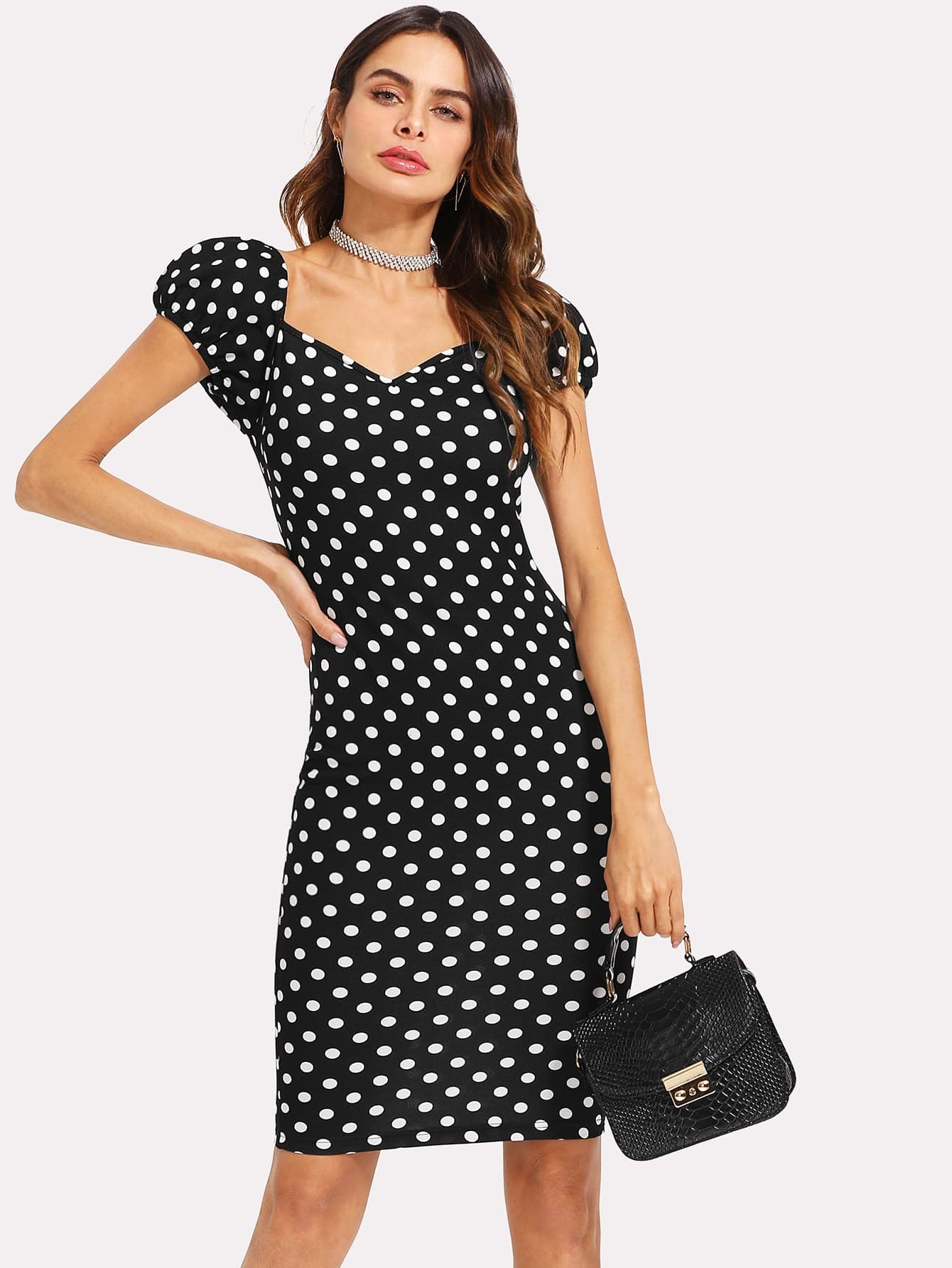 где купить Polka Dot Puff Sleeve Pencil Dress дешево