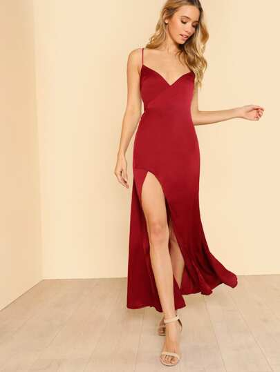 Criss Cross Back Wrap Dress with Slit RED