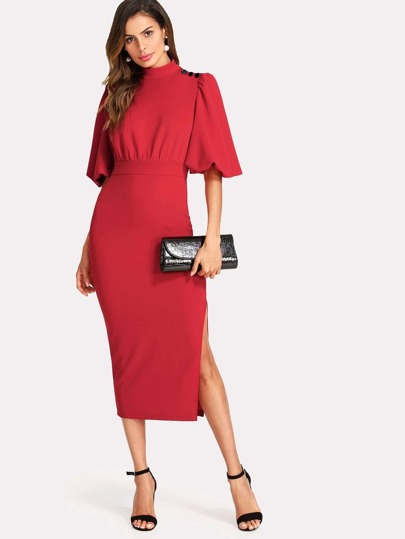 Exaggerated Lantern Sleeve Slit Side Dress