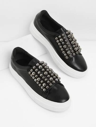 Studded Detail Slip On Sneakers