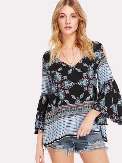 Cold Shoulder Ornate Print Top