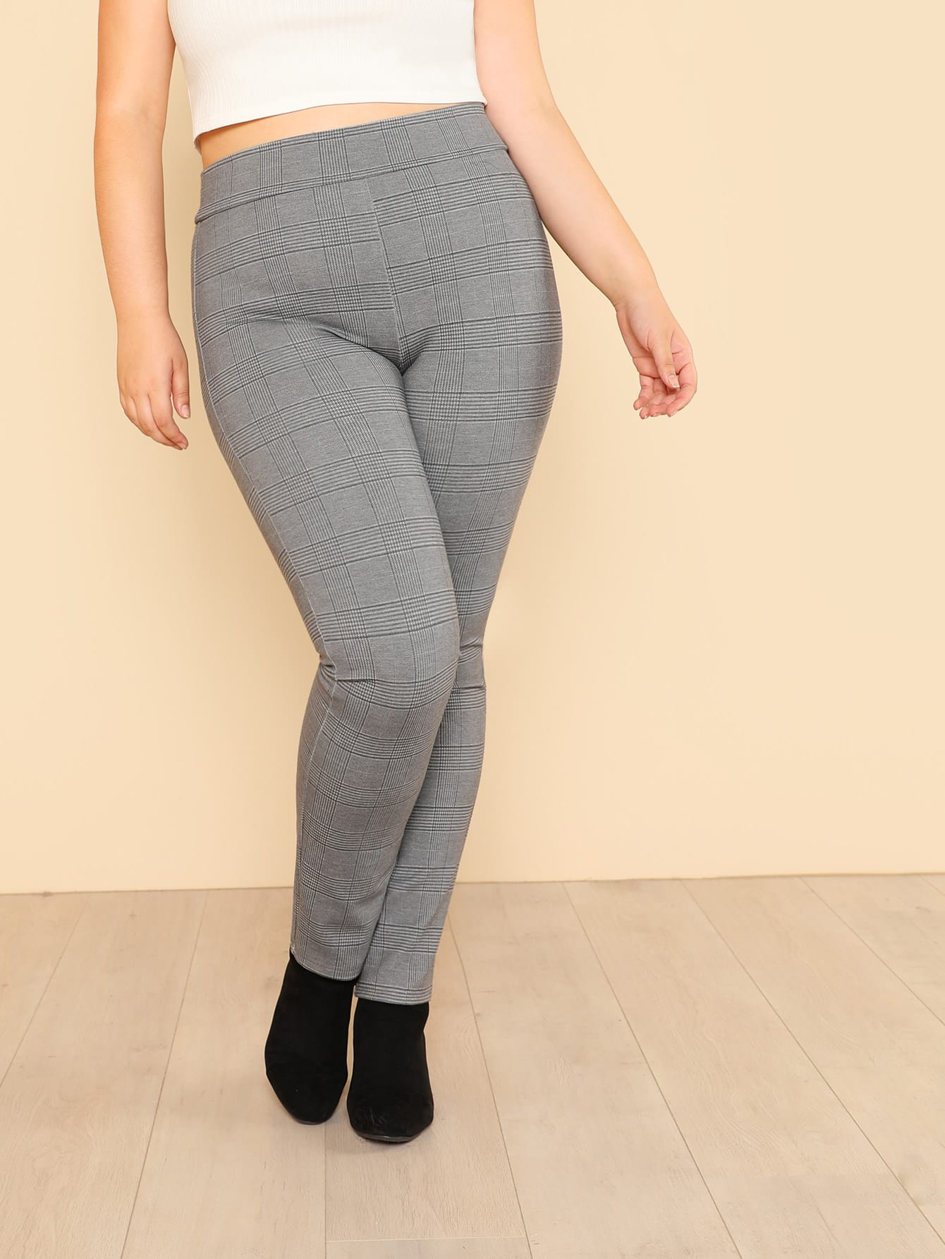 Wide Waistband Plaid Leggings knit wide waistband leggings