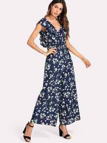 Double V Neckline Wide Leg Floral Jumpsuit