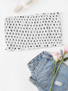 Shirred Polka Dot Bandeau Top