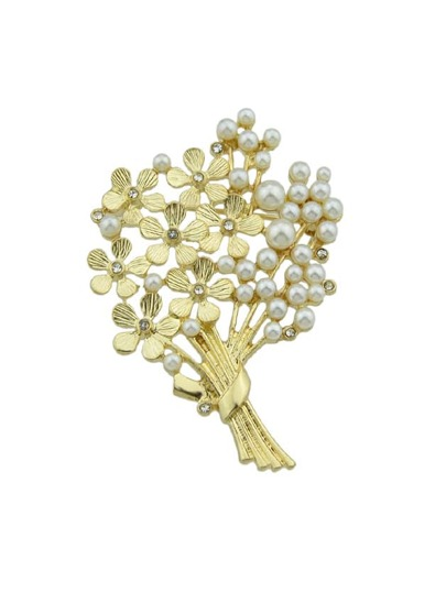 Metal With Simulated-Pearl Flower Brooch