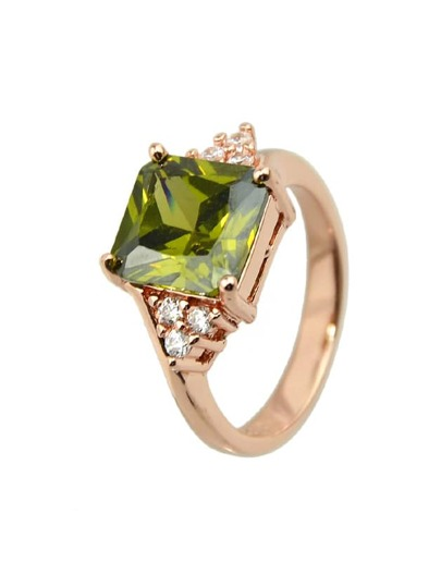 Olive  Shape Crystal Finger Ring