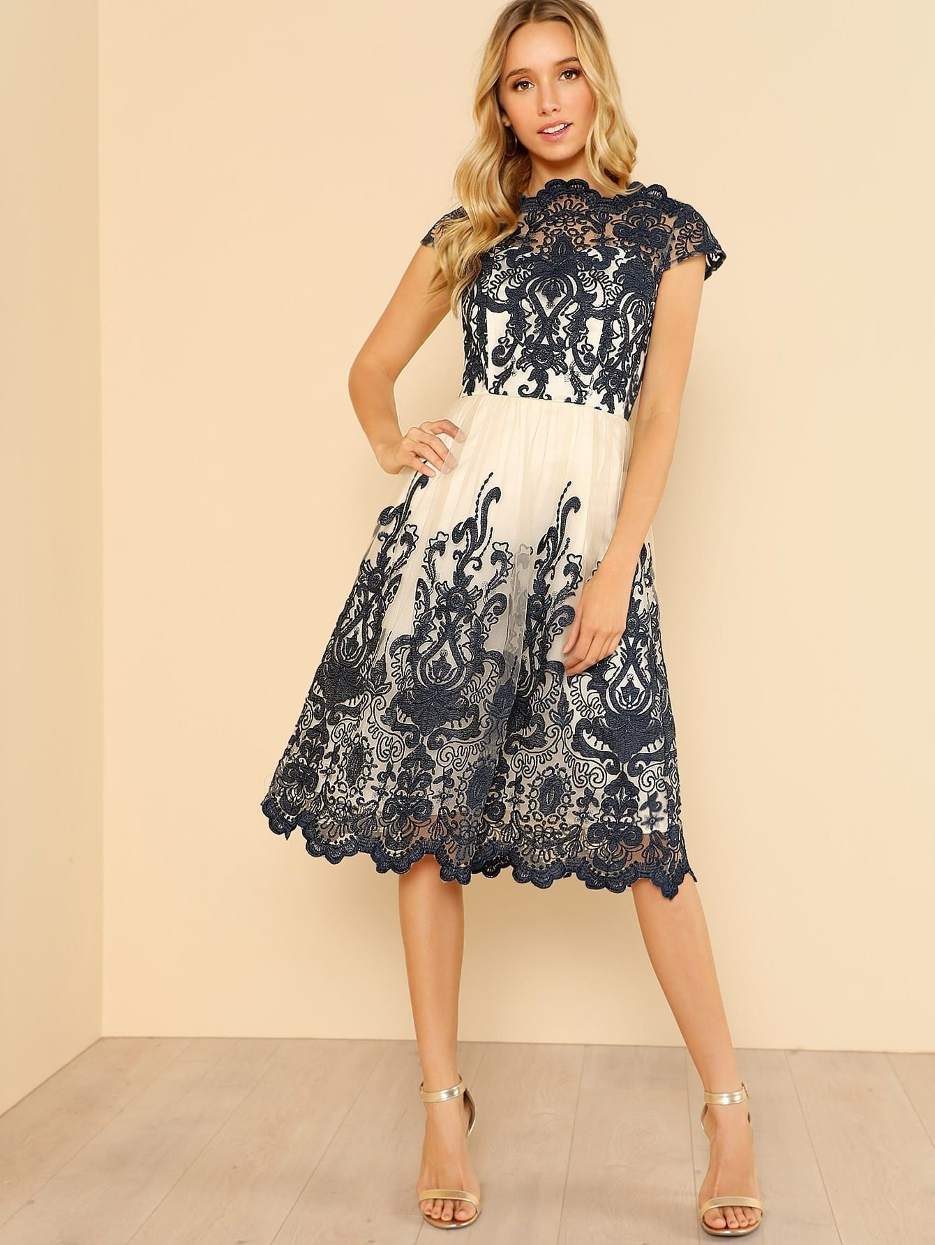 Contrast Fit And Flare Embroidered Mesh Dress contrast fit and flare embroidered mesh dress
