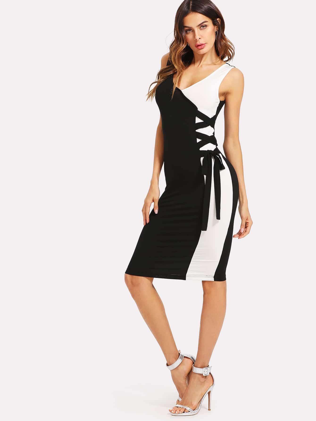 Knot Side Color Block V Back Dress Shein Sheinside