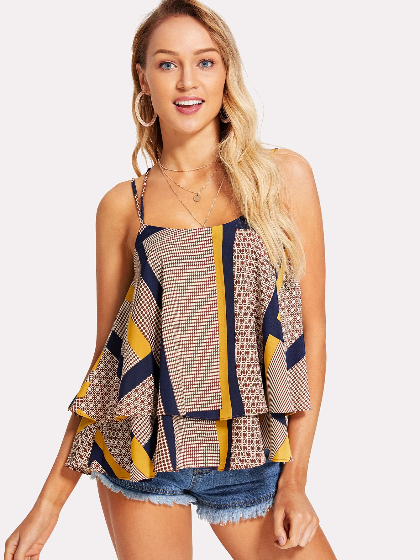 Geo Print Tiered Cami Top geo print cami with pants