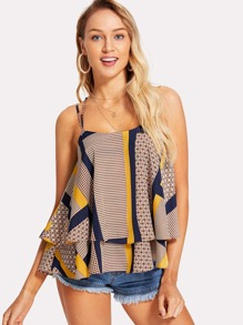 Geo Print Tiered Cami Top