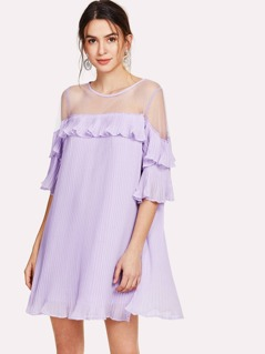Mesh Yoke Ruffle Detail Dress