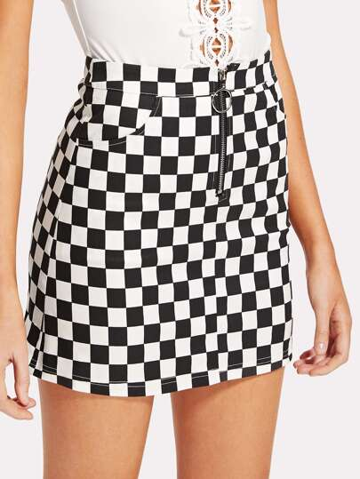 O-Ring Zipper Front Plaid Skirt