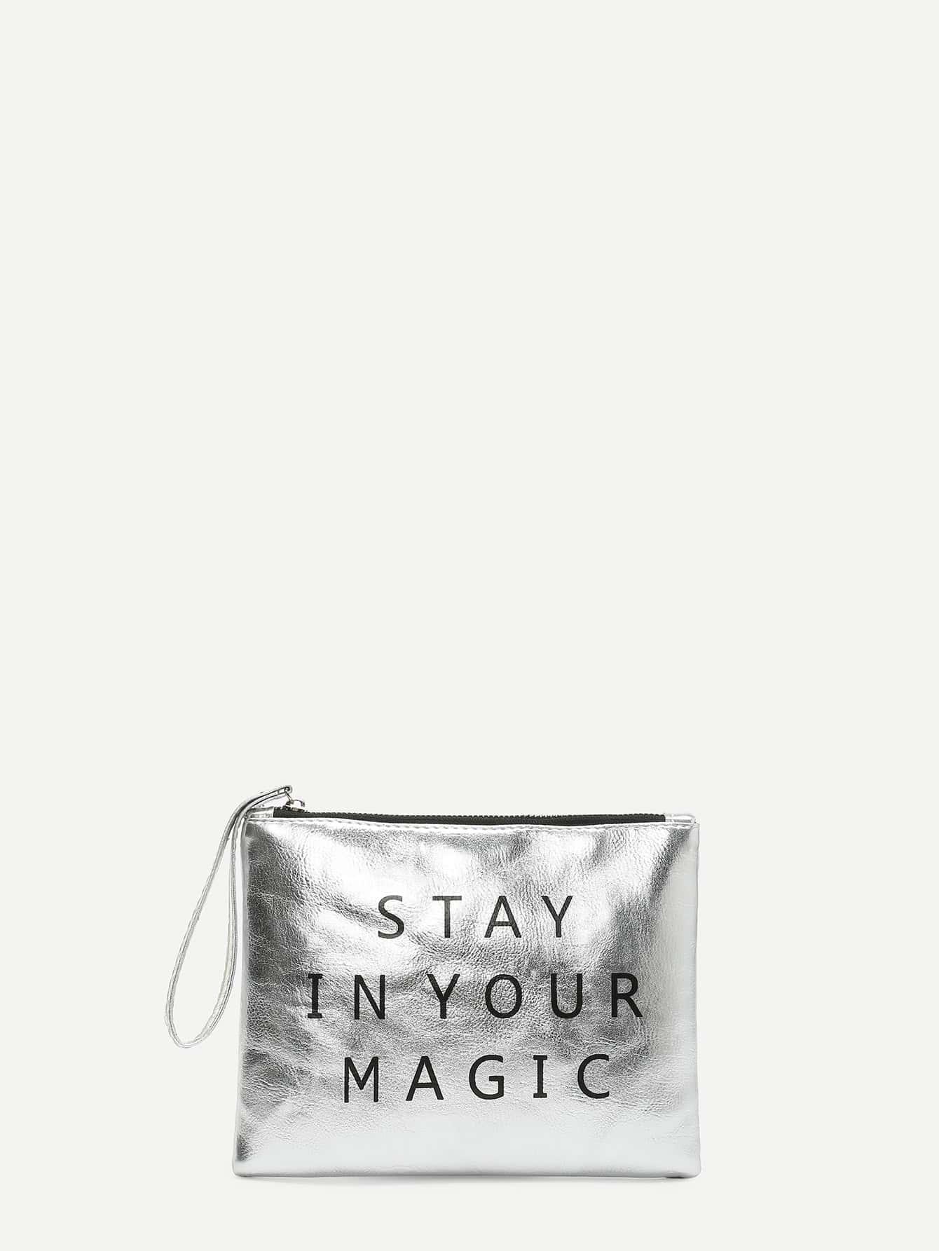 Купить Модный кожаный клатч с текстовым принтом, null, SheIn