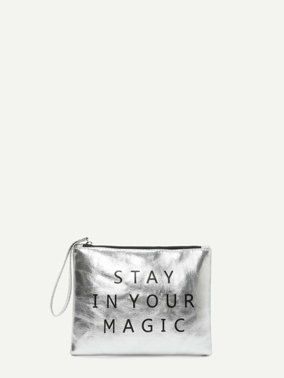 Letter Print PU Clutch Bag