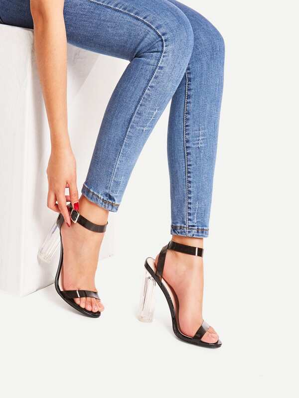 Peep Toe Strappy Clear Heeled Sandals by Sheinside