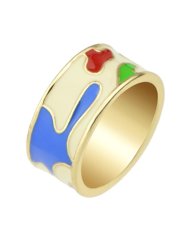Beige-8 Enamel Geometric Pattern  Finger Rings