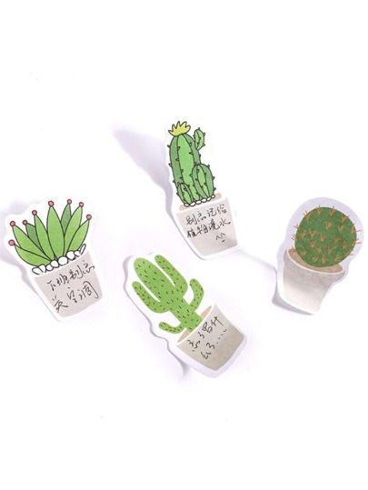 Cartoon Cactus Shaped Sticky Note Set