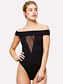 Mesh Insert Fold Over Off Shoulder Bodysuit