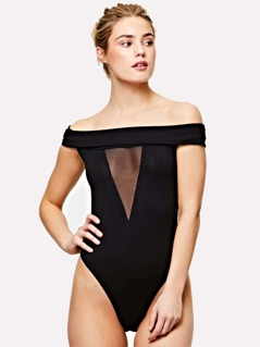 Mesh Insert Fold Over Off Shoulder Bodysuit