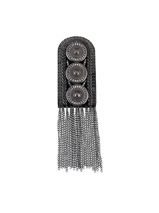 Gunblack 1Pc Carved Button Shoulder Board