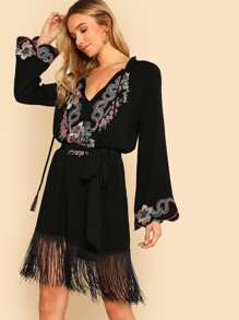Embroidered Yoke Fringe Hem Tunic Dress without Belt