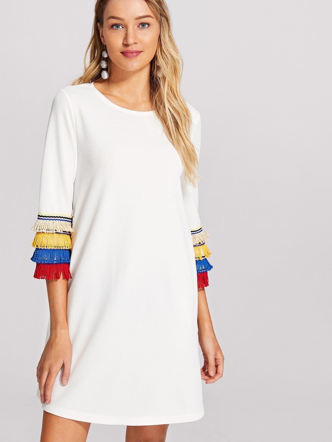 Layered Fringe Embellished Textured Dress solid layered fringe pants