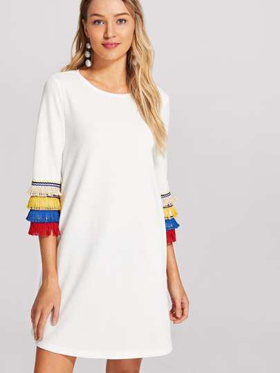 Layered Fringe Embellished Textured Dress