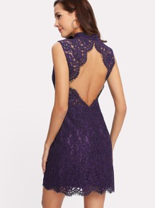 Open Back Floral Lace Dress