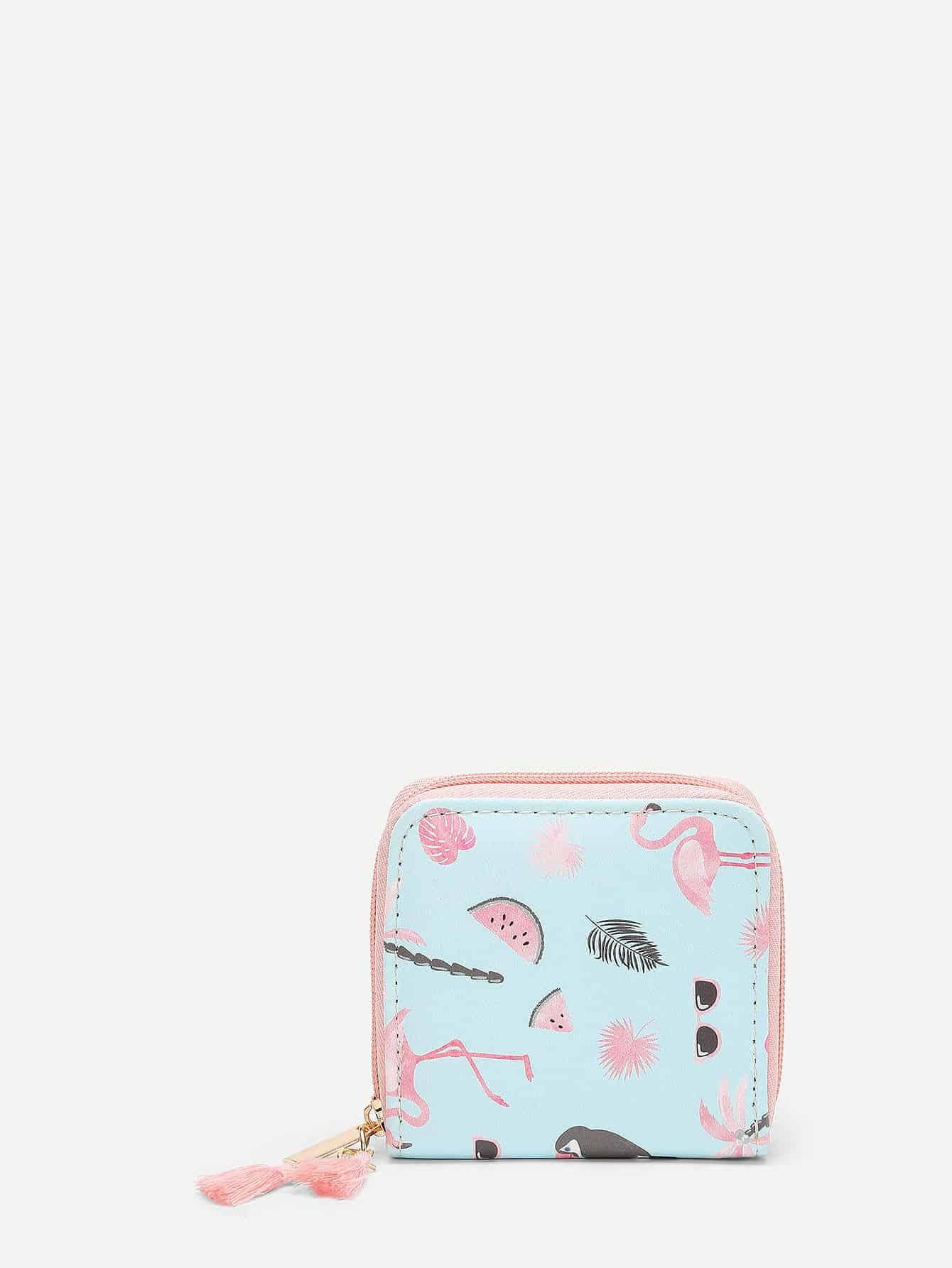 Flamingo Print PU Purse flower print pu purse