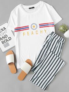 Graphic Tee & Striped Pants Set
