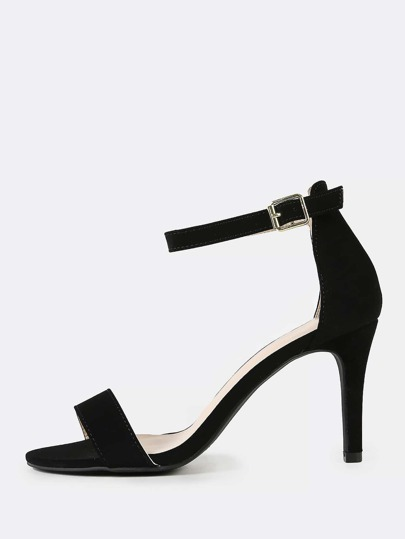 Single Band Open Toe Stiletto Heel BLACK