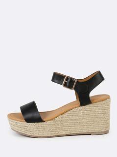 Ankle Strap Espadrille Platform Wedge Sandal BLACK