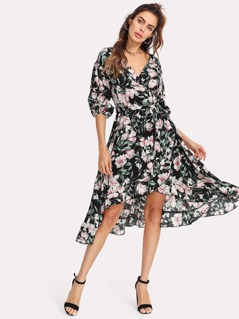 Gathered Sleeve Surplice Wrap Floral Dress